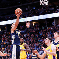 09 March 2018: Denver Nuggets guard Jamal Murray (27) goes for the layup during the Denver Nuggets125-116 victory over the Los Angeles Lakers, at the Pepsi Center, Denver, Colorado, USA.