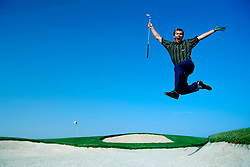1999. Simon Holmes jumping for joy at 11th hole Valderrama Golf Club, Cadiz, Spain.