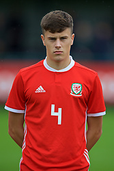 NEWPORT, WALES - Monday, October 14, 2019: Wales' Sam Bowen lines-up before an Under-19's International Friendly match between Wales and Austria at Dragon Park. (Pic by David Rawcliffe/Propaganda)