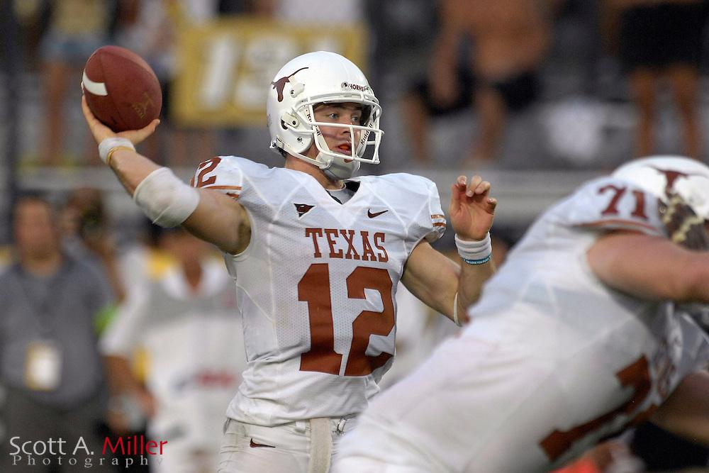 Sept. 15, 2007; Orlando, FL, USA; Texas Longhorns quarterback (12) Colt McCoy in action against Central Florida at Bright House Stadium. Texas won the game 35-32. ..©2007 Scott A. Miller