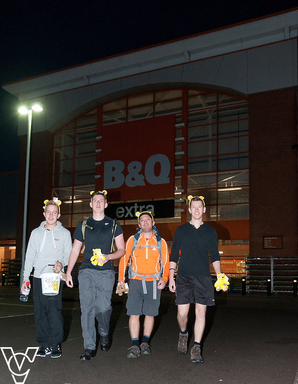 Pictured, from left, Jamie Brazier, Jamie Cave, David Peckham and James Tilley outside the B&amp;Q Lincoln store as they set off on their charity walk.<br /> <br /> <br /> B&amp;Q team to trek from Lincoln to Skegness in aid of BBC Children In Need<br />  <br /> Four plucky B&amp;Q employees from the DIY-giant&rsquo;s Skegness store are lacing up their hiking boots in readiness for a charity trek, which begins tomorrow, Friday 17th October.<br />  <br /> Trading manager David Peckham (41) will be joined by customer assistants James Tilley (21), Jamie Brazier (22) and Jamie Cave (20) as they aim to walk the 45 miles from B&amp;Q&rsquo;s Lincoln branch on Beevor Street, all the way back up the coast to the B&amp;Q warehouse on Wainfleet Road, Skegness. The arduous journey, which will take around 36 hours, is raising essential funds for BBC Children In Need.<br />  <br /> David, who lives in Horncastle, said: &ldquo;B&amp;Q is a staunch supporter of BBC Children In Need and seeing the merchandise come in store prompted me to think about how I could raise some extra funds. Last September, I walked Hadrian&rsquo;s Wall in aid of Multiple Sclerosis Society, and as I love walking I thought I&rsquo;d see if any of the guys from the store wanted to get involved. The three Jamies all jumped at the chance!<br />  <br /> &ldquo;We&rsquo;ll be setting off from the Lincoln store nice and early on Friday morning at about 7am, wearing our B&amp;Q Children In Need aprons of course. If anyone wants to donate, they simply have to pop into their nearest B&amp;Q and leave a donation in one of the many buckets we&rsquo;ll have on display. If you see us on the way do give us a wave &ndash; the blisters will probably be setting in after a few miles so the support will really gee us up!&rdquo;<br />  <br /> The fearless foursome aim to arrive at B&amp;Q Skegness at approximately 3pm on Saturday 18th October, where they&rsquo;ll be given a heroes welcome by colleagues and customers alike.<br