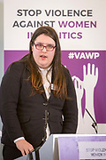 Aimee Challenor (Equalities Spokesperson, Green Party of England and Wales) Session 5: HOW WOMEN IN PARTY YOUTH WINGS ARE AFFECTED 'Violence Against Women in Politics' Conference, organised by all the UK political parties in partnership with the Westminster Foundation for Democracy, 19th and 20th of March 2018, central London, UK.  (Please credit any image use with: © Andy Aitchison / WFD