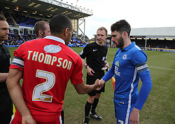 Michael Smith of Peterborough United and Nathan Thompson of Swindon Town shake hands before kick off.  - Mandatory byline: Joe Dent/JMP - 27/02/2016 - FOOTBALL - ABAX Stadium - Peterborough, England - Peterborough United v Swindon Town - Sky Bet Championship
