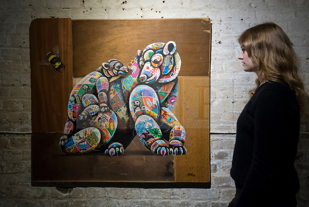 """© Licensed to London News Pictures. 24/05/2018. LONDON, UK. London, UK.  24 May 2018. An assistant views a painting of a polar bear at the preview of """"Missing"""" an exhibition by artist and environmentalist Louis Masai at the Crypt Gallery in Euston.  The exhibition features sculptures, installations and paintings depicting 20 endangered species across the world from the South African penguin to the humble bumble bee.  The show runs 25 to 27 May 2018. Photo credit: Stephen Chung/LNP"""