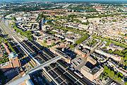 Nederland, Noord-Brabant, Den Bosch, 23-08-2016; station 's-Hertogenbosch met directe omgeving, Stationsplein en Higo de Grootplein.<br /> Downtown area with central station and immediate environment.<br /> luchtfoto (toeslag op standard tarieven);<br /> aerial photo (additional fee required);<br /> copyright foto/photo Siebe Swart