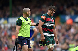 Graham Kitchener of Leicester Tigers is treated for an injury - Mandatory byline: Patrick Khachfe/JMP - 07966 386802 - 18/05/2019 - RUGBY UNION - Welford Road - Leicester, England - Leicester Tigers v Bath Rugby - Gallagher Premiership Rugby
