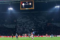 27-10-2019 NED: Ajax - Feyenoord, Amsterdam<br /> Eredivisie Round 11, Ajax win 4-0 / F Side support banner, flag support