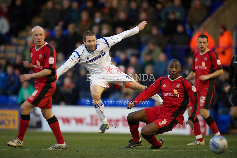 BIRKENHEAD, ENGLAND - Saturday, January 8, 2011: Tranmere Rovers' captain Ian Thomas Moore in action against Walsall during the Football League One match at Prenton Park. (Pic by: David Rawcliffe/Propaganda)