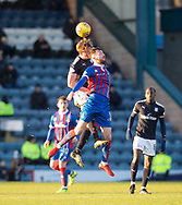 20th January 2018, Dens Park, Dundee, Scotland; Scottish Cup fourth round, Dundee versus Inverness Caledonian Thistle; Dundee's Mark O'Hara competes in the air with Inverness Caledonian Thistle's Iain Vigurs