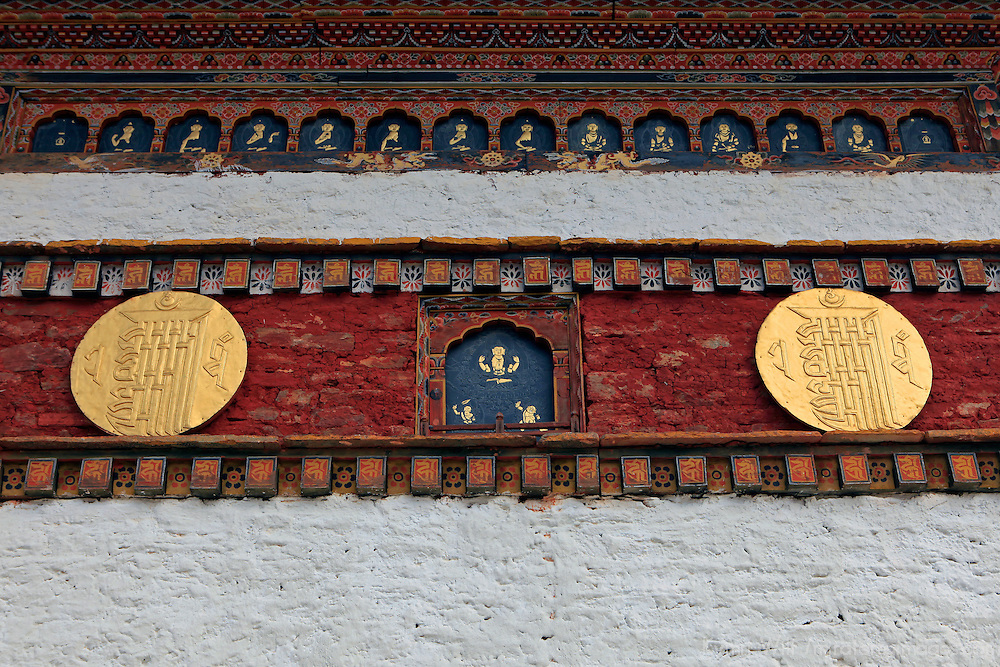 Asia, Bhutan, Thimpu. Detail of Chorten at Dochula Pass.