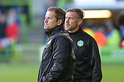Forest Green Rovers manager, Mark Cooper & Forest Green Rovers assistant manager, Scott Lindsey during the Pre-Season Friendly match between Forest Green Rovers and Cardiff City at the New Lawn, Forest Green, United Kingdom on 13 July 2016. Photo by Shane Healey.