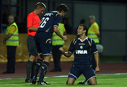 Dino Drpic of Dinamo and Ivica Urdoljak celebrating the first goal at 1st football game of 2nd Qualifying Round for UEFA Champions league between NK Domzale vs HNK Dinamo Zagreb, on July 30, 2008, in Domzale, Slovenia. Dinamo won 3:0. (Photo by Vid Ponikvar / Sportal Images)