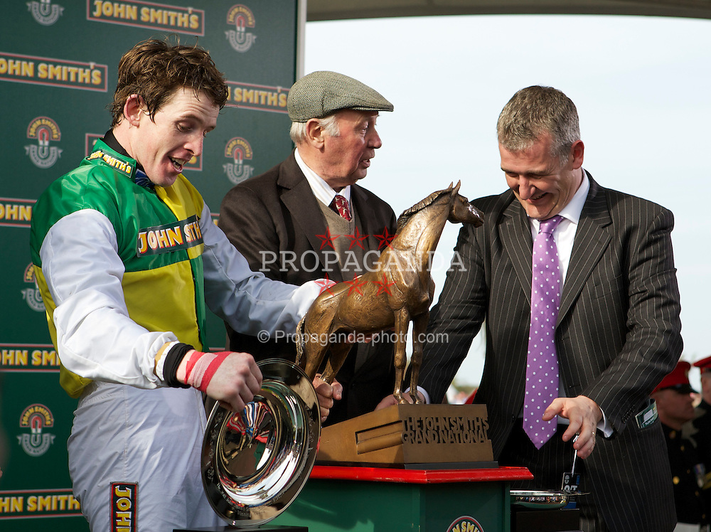 LIVERPOOL, ENGLAND, Saturday, April 9, 2011: Jason Maguire celebrates with owner Trevor Hemmings and trainer Donald McCain after winning the 2011 Grand National riding Ballabriggs during Day Three of the Aintree Grand National Festival at Aintree Racecourse. (Photo by David Tickle/Propaganda)