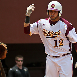 June 04, 2011; Tallahassee, FL, USA; Bethune-Cookman Wildcats third baseman takes a bases loaded walk during the sixth inning of the Tallahassee regional of the 2011 NCAA baseball tournament against the UCF Knights at Dick Howser Stadium. Mandatory Credit: Derick E. Hingle