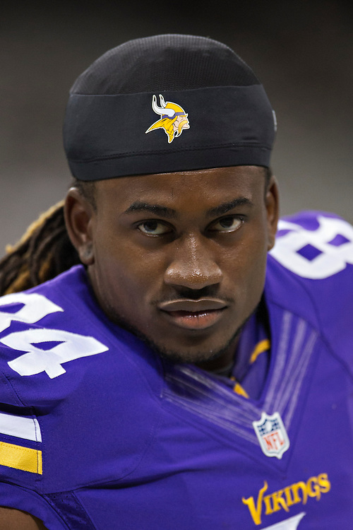 NEW ORLEANS, LA - SEPTEMBER 21:  Cordarrelle Patterson #84 of the Minnesota Vikings on the sidelines during a game against the New Orleans Saints at Mercedes-Benz Superdome on September 21, 2014 in New Orleans, Louisiana.  The Saints defeated the Vikings 20-9.  (Photo by Wesley Hitt/Getty Images) *** Local Caption *** Cordarrelle Patterson