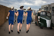 Women wear vintage clothing at the Goodwood Revival in Chichester, England   Friday, Sept. 9, 2016 The historic motor racing festival celebrates the mid-20th-century golden era of the racing circuit and recreates the atmosphere from the 1950s and 1960s.(Elizabeth Dalziel)