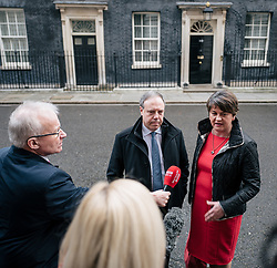 © Licensed to London News Pictures. 21/11/2017. London, UK. DUP Leader ARLENE FOSTER (R) and DUP MP for North Belfast NIGEL DODDS (L) speak to the media outside 10 Downing Street after meeting with Prime Minister Theresa May. Photo credit: Rob Pinney/LNP