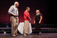 Bill and Lynne Burns receive the Hurst Award with Karmen Gifford at the Winnipesaukee Playhouse onb Wednesday evening.  (Karen Bobotas/for the Laconia Daily Sun)