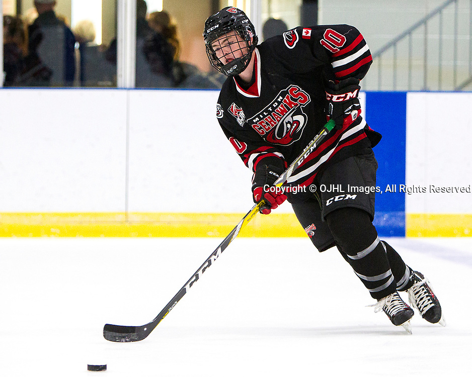 MILTON, ON  - SEP 8,  2017: Ontario Junior Hockey League game between the Cobourg Cougars and the Milton IceHawks, Scott Gaetz #10 of the Milton Icehawks during the on-ice warmup.<br /> (Photo by Brian Watts / OJHL Images)