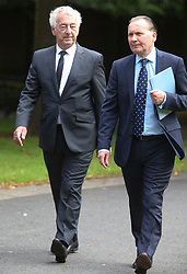 © Licensed to London News Pictures. 09/08/2017. Warrington, UK. former police officer Alan Foster (left) arrives at Warrington Magistrates Court. Former West Yorkshire Police Chief Sir Norman Bettison, former police officers Donald Denton and Alan Foster, South Yorkshire Police solicitor Peter Metcalf, and former Sheffield Wednesday secretary and safety officer Graham Mackrell are appearing at Warrington Magistrates Court today to face charges relating to the Hillsborough tragedy where 96 people died in 1989. Photo credit: Andrew McCaren/LNP