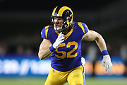 Los Angeles Rams outside linebacker Clay Matthews (52) rushes the passer during an NFL football game against the Seattle Seahawks, Sunday, Dec. 8, 2019, in Los Angeles, Calif. The Rams defeated the Seahawks 28-12. (Peter Klein/Image of Sport)