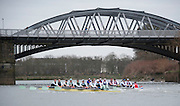 Putney. London, Varsity Fixtures,  CUBC and NED, racing towards Barnes Bridge. OUBC vs Molesey BC. and CUBC vs Select NED crew. on the championship Course Putney to Mortlake.  ENGLAND. <br /> <br /> Saturday  21/03/2015<br /> <br /> [Mandatory Credit; Intersport-images]