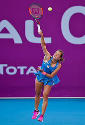 DOHA, Feb. 14, 2019  Barbora Strycova of the Czech Republic serves during the women's singles second round match between Anna Blinkova of Russia and Barbora Strycova of the Czech Republic at the 2019 WTA Qatar Open in Doha, Qatar, Feb. 13, 2019. Strycova won 2-1. (Credit Image: © Nikku/Xinhua via ZUMA Wire)