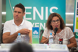 Gregor Krusic and Anita Ogulin at Press conference before ATP Challenger Portoroz 2018, on July 17, 2018 in Ljubljana, Slovenia. Photo by Urban Urbanc / Sportida