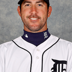 February 28, 2012; Lakeland, FL, USA; Detroit Tigers starting pitcher Justin Verlander (35) poses for photo day in the rec room at the Detroit Tigers Headquarters.  Mandatory Credit: Derick E. Hingle-US PRESSWIRE