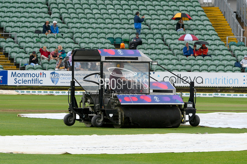 Groundstaff hard at work trying to dry the outfield as start of play is delayed due to rain during the Specsavers County Champ Div 1 match between Somerset County Cricket Club and Essex County Cricket Club at the Cooper Associates County Ground, Taunton, United Kingdom on 25 September 2019.