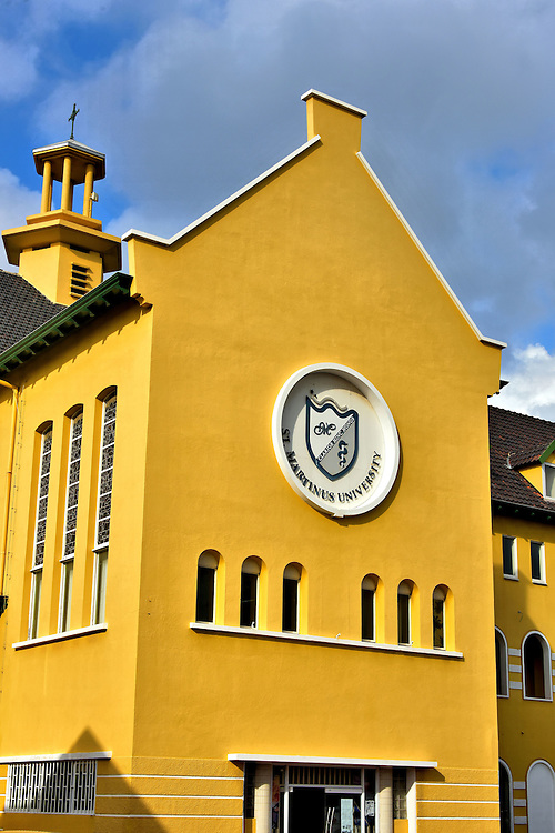 St. Martinus University in Otrobanda, Westside of Willemstad, Cura&ccedil;ao <br /> This historic site was a plantation called Scherpenheuvel before becoming a seminary in 1898.  The building was later used as an orphanage, a vocational school and then the offices for the Roman Catholic School Board.  St. Martinus University converted it into their campus in 2013. This Faculty of Medicine was founded in 2000.