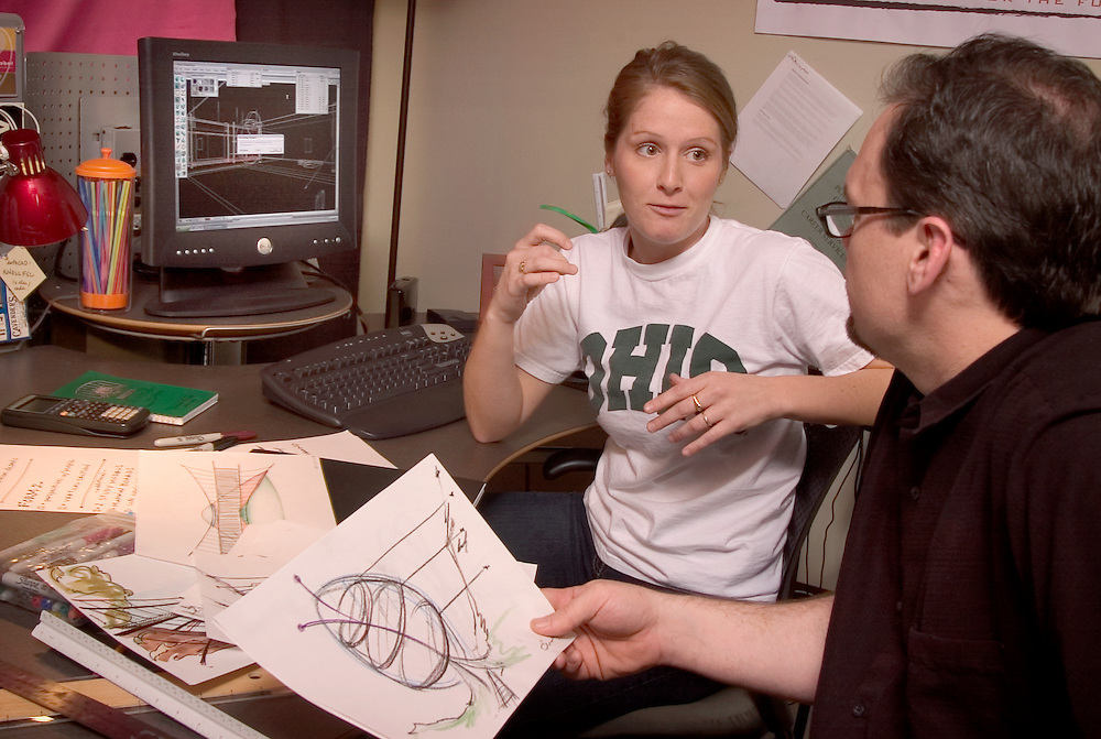 Kimberly Brunner(black shirt) & Emily Seibert(white shirt) in David Mathew's architecture classroom students