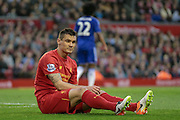 Dejan Lovren (Liverpool) during the Barclays Premier League match between Liverpool and Chelsea at Anfield, Liverpool, England on 11 May 2016. Photo by Mark P Doherty.