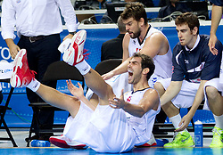 Jose Calderon of Spain reacts after he was injured during basketball game between National basketball teams of Spain and Slovenia at Quarterfinals of FIBA Europe Eurobasket Lithuania 2011, on September 14, 2011, in Arena Zalgirio, Kaunas, Lithuania. Spain defeated Slovenia 86-64. (Photo by Vid Ponikvar / Sportida)