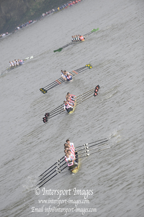 Putney/Barnes,  Great Britain,  bottom, Marbacher RV [GER] ,  chasing Mainzer RV, and the Danske Studenters RoKlub,  2008 Head of the River Race. Raced from Mortlake to Putney, over the Championship Course.  15/03/2008  [Mandatory Credit. Peter Spurrier/Intersport Images] Rowing Course: River Thames, Championship course, Putney to Mortlake 4.25 Miles,