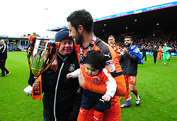 Luton fan Nicky Toone with Alan Sheehan of Luton Town  - Mandatory by-line: James Healey/JMP - 28/04/2018 - FOOTBALL - Kenilworth Road - Luton, England - Luton Town v Forest Green Rovers - Sky Bet League Two