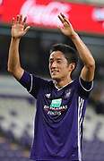 Ryota Morioka celebrates after winning the Jupiler Pro League matchday 4 between Rsc Anderlecht and Excel Mouscron on August 17, 2018 in Brussels, Belgium, Photo by Vincent Van Doornick / Isosport/ Pro Shots / ProSportsImages / DPPI