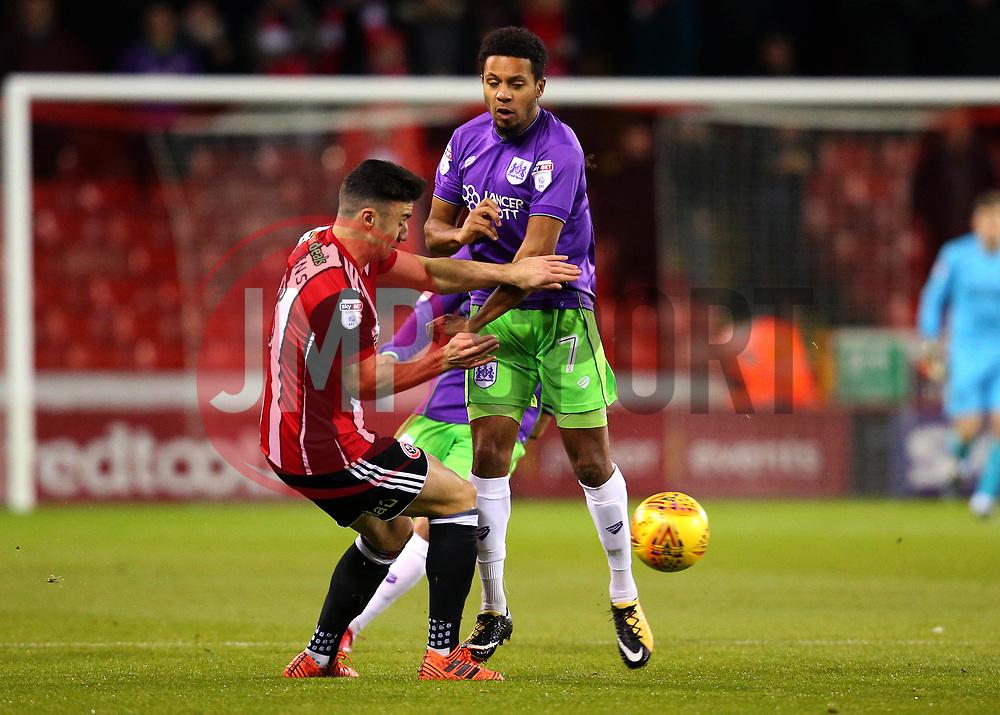 Korey Smith of Bristol City tackles Enda Stevens of Sheffield United - Mandatory by-line: Robbie Stephenson/JMP - 08/12/2017 - FOOTBALL - Bramall Lane - Sheffield, England - Sheffield United v Bristol City - Sky Bet Championship