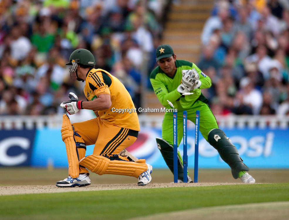 Mitchell Johnson is stumped by Kamran Akmal during the first International T20 match between Australia and Pakistan at Edgbaston, Birmingham.  Photo: Graham Morris (Tel: +44(0)20 8969 4192 Email: sales@cricketpix.com) 05/07/10