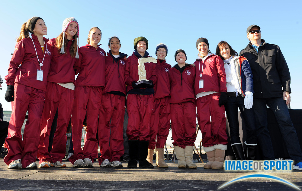 Dec 6, 2008; Portland, OR, USA; The Saugus High girls pose on the awards podium after finishing second in the girls' championship race at the Nike Cross Country Nationals at Portland Meadows race track. From left: Kaylin Mahoney, Amber Murakami, Stephanie Bulder, Brianna Jaregui, Anne Randall, Karis Frankian, Keri Molt, Courtney Wilson, Shannon Rowbury and Nike president Marc Parker.