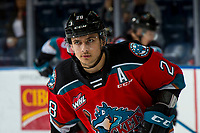 KELOWNA, BC - NOVEMBER 6: Leif Mattson #28 of the Kelowna Rockets warms up against the Victoria Royals at Prospera Place on November 6, 2019 in Kelowna, Canada. (Photo by Marissa Baecker/Shoot the Breeze)