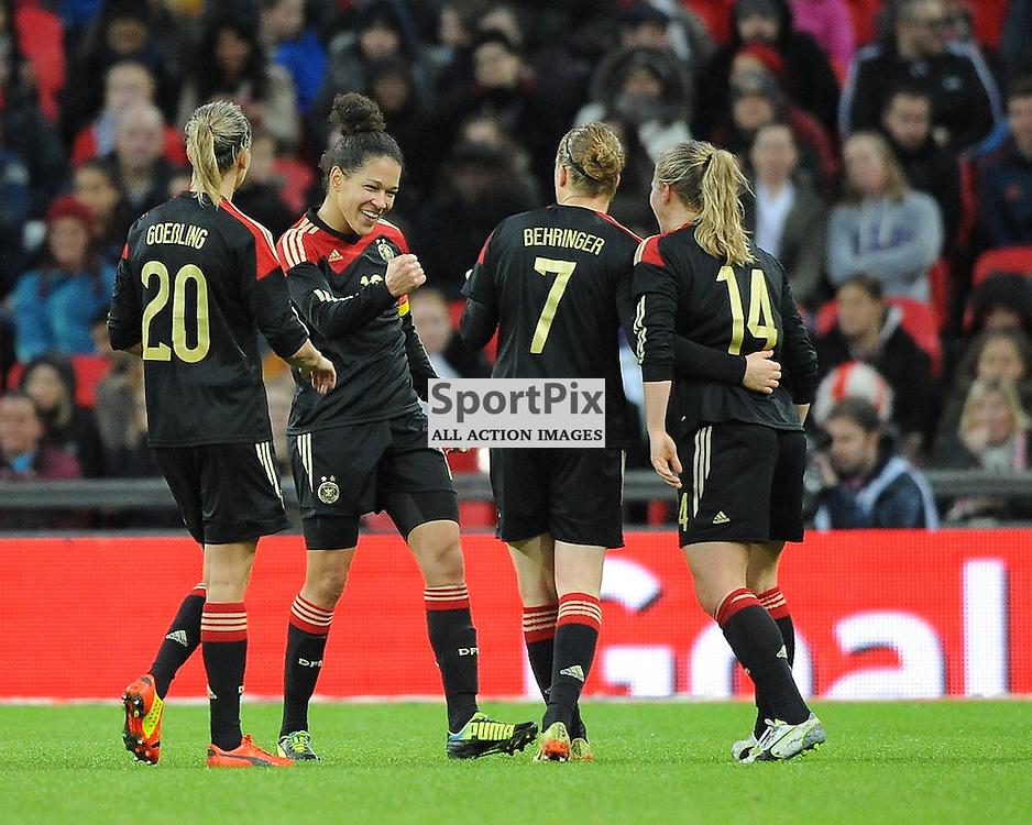 Germanys Celia Sasic Celebrates after Scoring Germanys THIRD gOAL, England v Germany Ladies, Breast Cancer Care International, Wembley , Sunday 23rd November 2014