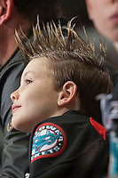 KELOWNA, CANADA - NOVEMBER 9: A Kelowna Rockets fan on November 9, 2013 at Prospera Place in Kelowna, British Columbia, Canada.   (Photo by Marissa Baecker/Shoot the Breeze)  ***  Local Caption  ***