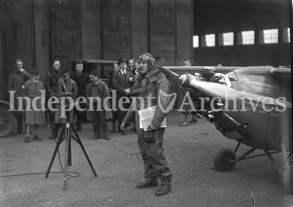 Mr Scally  Aviator at the Aircraft &quot;Shamrocket&quot; with a group of people around it.18 February 1932.<br /> (Part of the Independent Newspapers Ireland/NLI Collection)