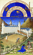 'The Très Riches Heures du Duc de Berry Is a French Gothic illuminated manuscript. The Très Riches Heures is a prayer book created for John, Duke of Berry, by the Limbourg brothers between 1412 and 1416. The book was completed by Jean Colombe between 1485 and 1489. The manuscript is held at the Musée Condé, Chantilly, France. this folio (July)shows harvesting and sheep shearing'