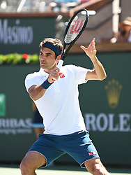 March 15, 2019 - Indian Wells, CA, U.S. - INDIAN WELLS, CA - MARCH 15:  Roger Federer (SUI) in action during his quarterfinal win over Hubert Hurkacz (POL) on March 15, 2019, during the BNP Paribas Open at the Indian Wells Tennis Garden in Indian Wells, CA. (Photo by Cynthia Lum/Icon Sportswire) (Credit Image: © Cynthia Lum/Icon SMI via ZUMA Press)