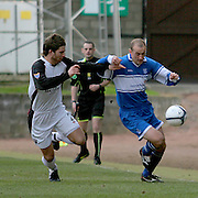 Gretna's Craig Barr and St Johnstone's Paul Sheerin in action. Scottish First Division match on 27th January 2007. McDiarmid Park Perth
