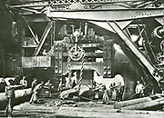 Giant steam hammer 'Fritz' in action at the Krupp works at Essen, late 19th century.