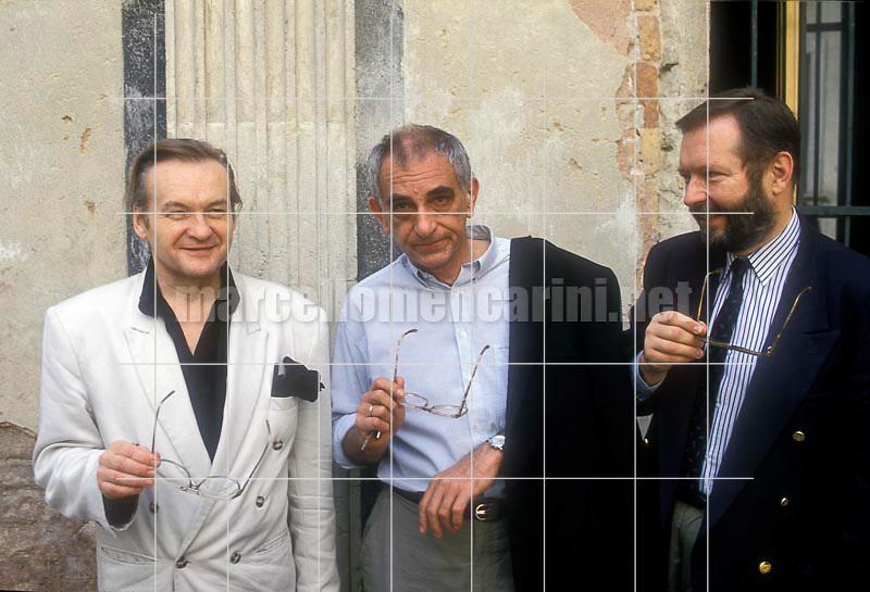Venice, 1993, Polish directors Jerzy Skolimowski, Krzysztof Kieslowski and Krzysztof Zanussi  / Venezia, 1993. I registi Jerzy Skolimowski, Krzysztof Kieslowski e Krzysztof Zanussi - © Marcello Mencarini