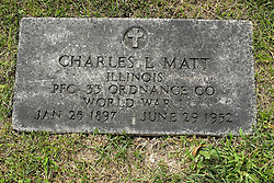 31 August 2017:   Veterans graves in Park Hill Cemetery in eastern McLean County.<br /> <br /> Charles L Matt  Illinois Private First Class 323 Ordnance CO World War I  Jan 25 1897  June 29 1952